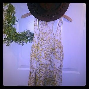 Yellow Floral Cotton Boho Hippy Dress Medium